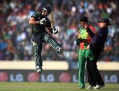 Ahmed Shehzad of Pakistan celebrates his century during the ICC World Twenty20 Bangladesh 2014 match between Pakistan and Bangladesh at ShereBangla...