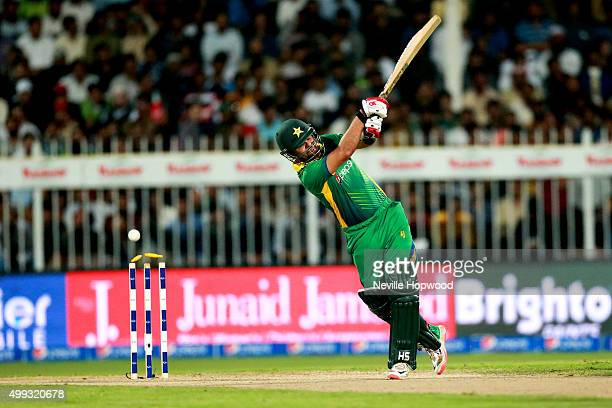 Ahmed Shehzad of Pakistan misses a straight delivery from David Willey of England and is bowled during the 3rd International T20 match between...