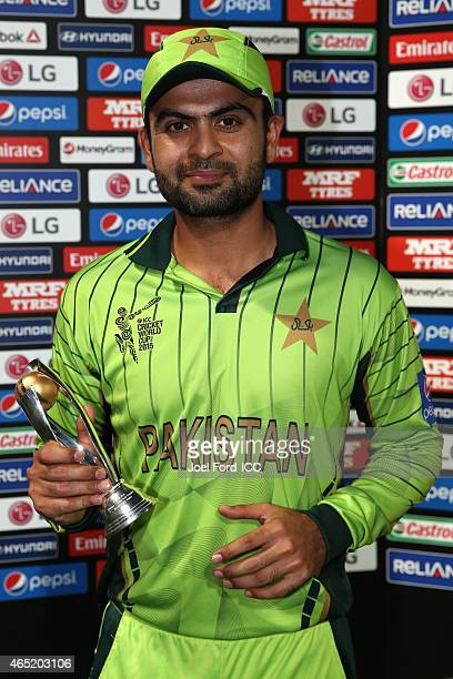 Ahmed Shehzad of Pakistan player of the match for the 2015 ICC Cricket World Cup match between Pakistan and the United Arab Emirates at McLean Park...