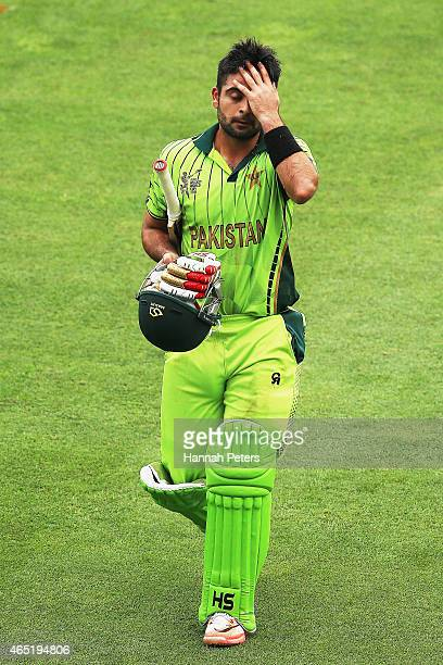 Ahmed Shehzad of Pakistan walks off after being run out during the 2015 ICC Cricket World CUp match between Pakistan and the United Arab Emirates at...