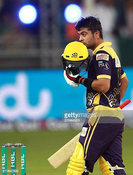 Ahmed Shehzad of Quetta Gladiators celebrates his half century against Islamabad United during the final of Pakistan Super League at the Dubai...
