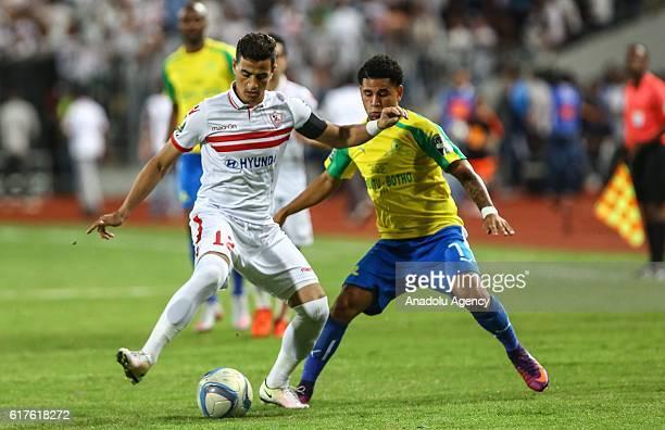 Ahmed Tawfik of Zamalek vies with Keagan Dolly of Mamelodi Sundowns during the CAF Champions League final football match between Zamalek and Mamelodi...
