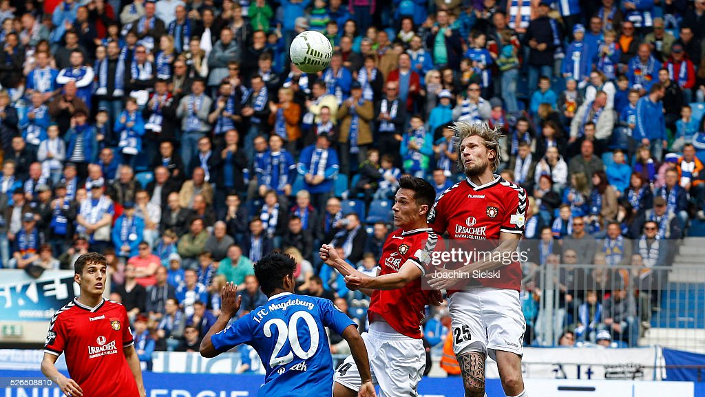Ahmed Waseem Razeek of Magdeburg challenges Jeremias Lorch and Kai Gehring of Sonnenhof-Grossaspach during the Third League match between 1. FC Magdeburg and SG Sonnenhof-Grosssaspach at MDCC-Arena on April 30, 2016 in Magdeburg, Germany.