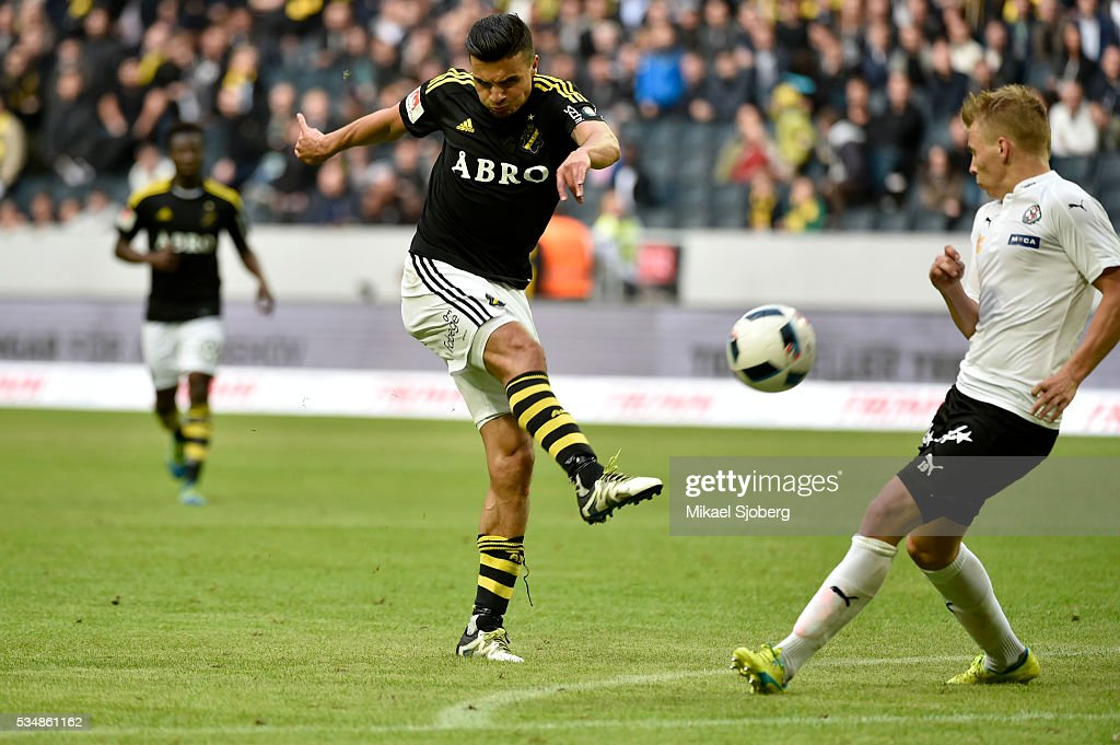 Ahmed Yasin of AIK and Sebastian Ring of Orebro SK at Friends arena on May 28, 2016 in Solna, Sweden.