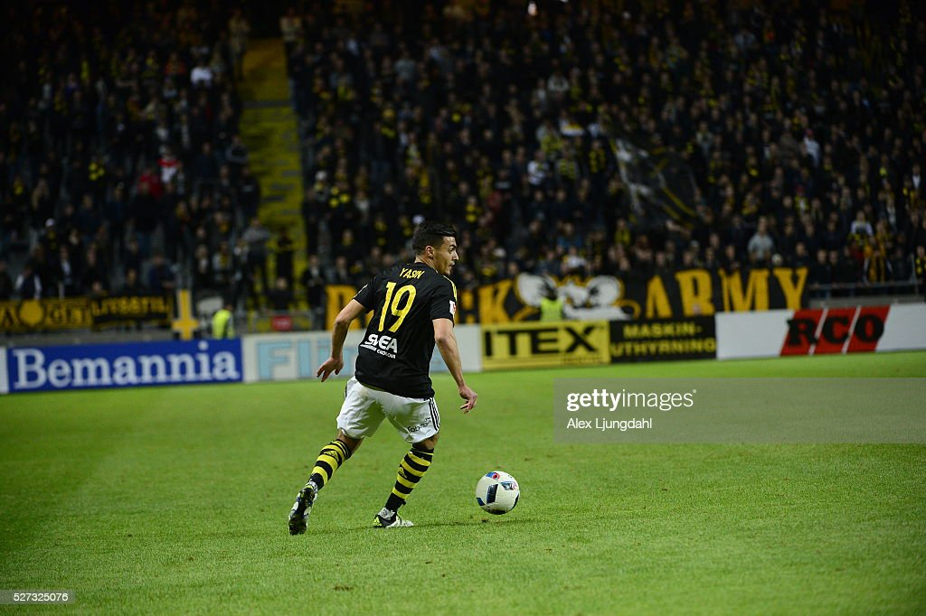 Ahmed Yasin of AIK during the allsvenskan match between AIK and Jonkkoping Sodra IF at Friends arena on May 2, 2016 in Solna, Sweden.