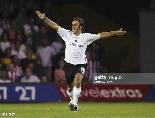 Ahmet Brkovic of Luton celebrates his goal during the CocaCola Championship match between Luton Town and Southampton at the Kenilworth Road Stadium...
