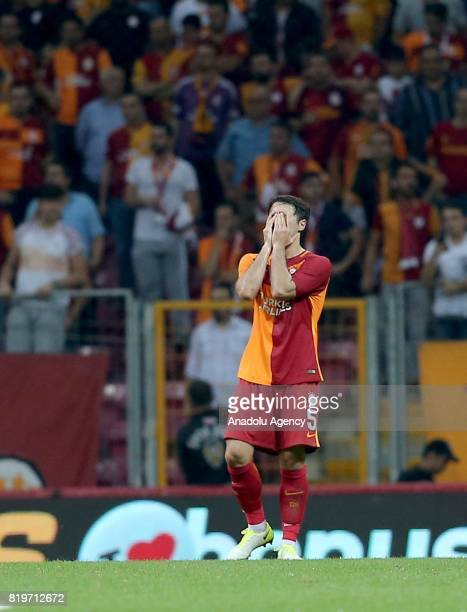 Ahmet Calik of Galatasaray gets upset after the penalty goal of Ostersunds during the UEFA Europa League second qualifying round return match between...