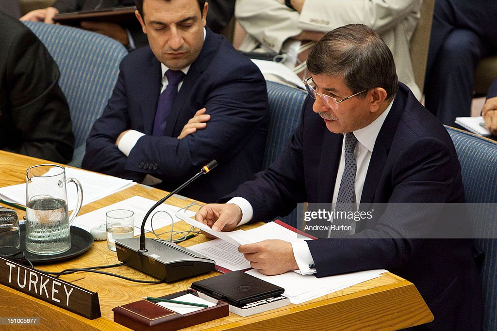<a gi-track='captionPersonalityLinkClicked' href=/galleries/search?phrase=Ahmet+Davutoglu&family=editorial&specificpeople=4940018 ng-click='$event.stopPropagation()'>Ahmet Davutoglu</a> (R), minister for foreign affairs of the Republic of Turkey, attends a United Nations (UN) Security Council meeting regarding the on-going civil war in Syria on August 30, 2012 in New York City. UN Security Council negotiations regarding the situation in Syria collapsed last month.