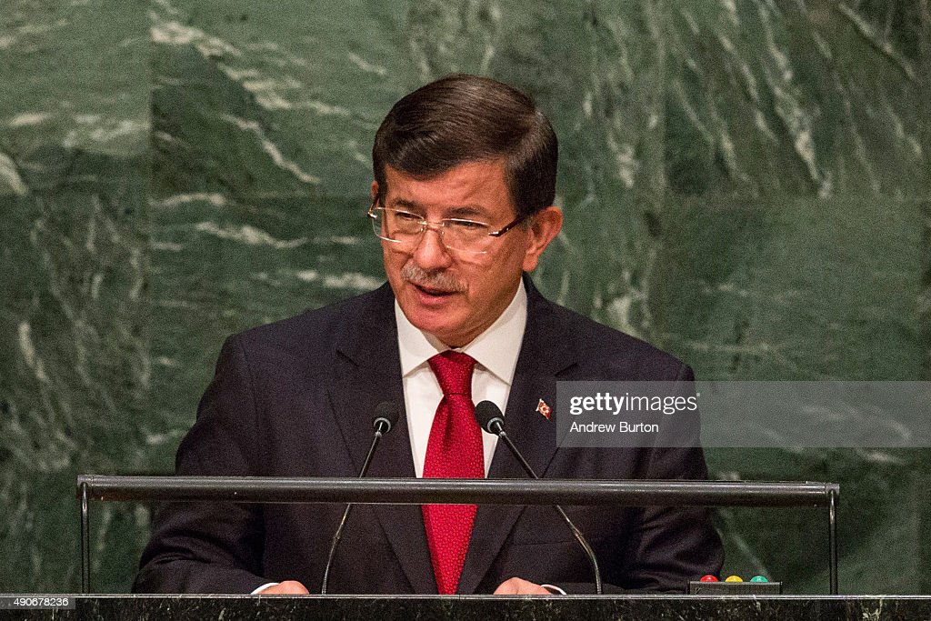 <a gi-track='captionPersonalityLinkClicked' href=/galleries/search?phrase=Ahmet+Davutoglu&family=editorial&specificpeople=4940018 ng-click='$event.stopPropagation()'>Ahmet Davutoglu</a>, Prime Minister of Turkey, speaks at the United Nations General Assembly on September 30, 2015 in New York City. World leaders gathered for the 70th session of the annual meeting.