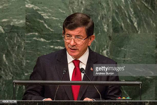 Ahmet Davutoglu Prime Minister of Turkey speaks at the United Nations General Assembly on September 30 2015 in New York City World leaders gathered...
