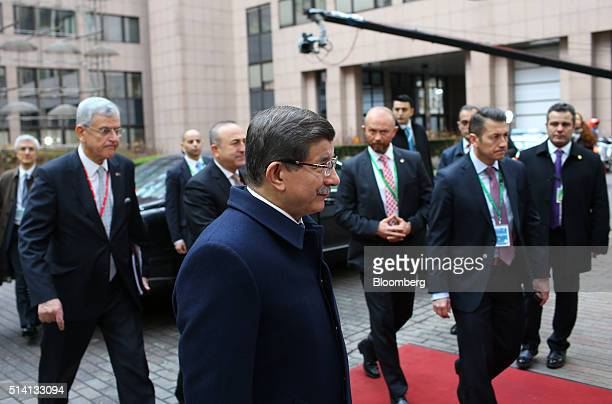 Ahmet Davutoglu Turkey's prime minister arrives for a meeting with European Union leaders in Brussels Belgium on Monday March 7 2016 European leaders...