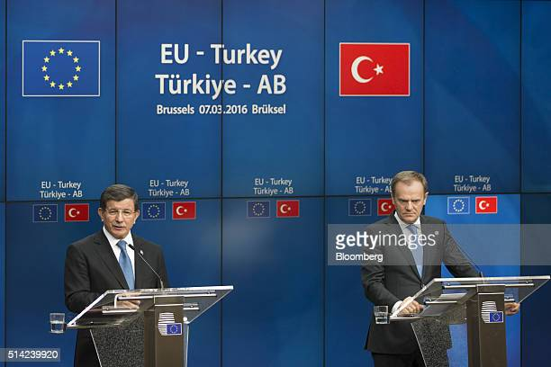 Ahmet Davutoglu Turkey's prime minister left speaks as Donald Tusk president of the European Union listens during a news conference following a...