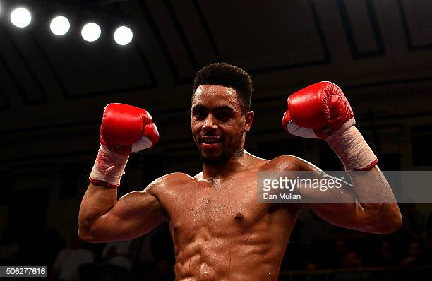 Ahmet Patterson of England celebrates victory over Ryan Aston of England following their IBF International SuperWelterweight Championship Contest at...