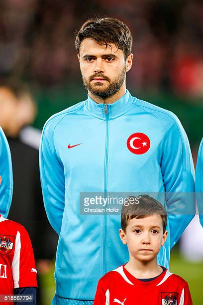 Ahmet Yilmaz Calik of Turkey lines up during the national anthem prior to the international friendly match between Austria and Turkey at...