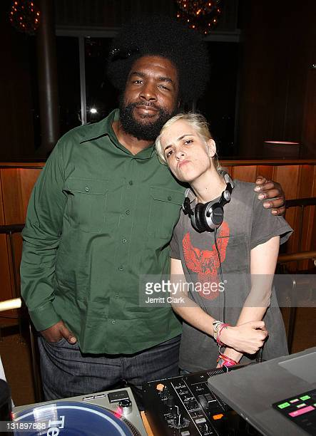 Ahmir 'uestlove' Thompson and Samantha Ronson spin the Hennessy Toast To KAWS at the Boom Boom Room on June 9 2011 in New York City