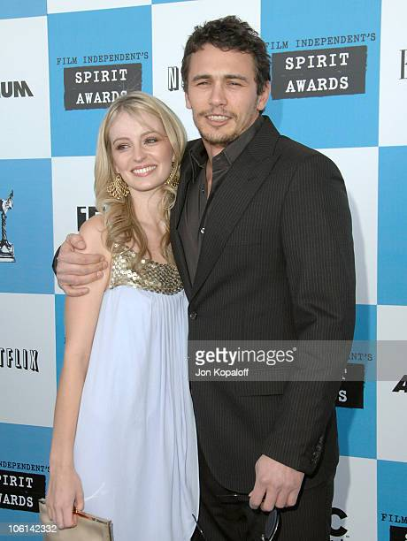 Ahna O'Reilly and James Franco during 2007 Film Independent's Spirit Awards Arrivals at Santa Monica Pier in Santa Monica California United States