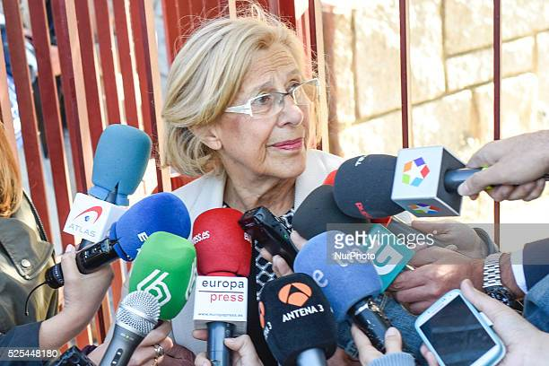 Ahora Madrid citizen platform's candidate for mayor of Madrid Manuela Carmena casts her ballots in Spain's municipal and regional election at a...
