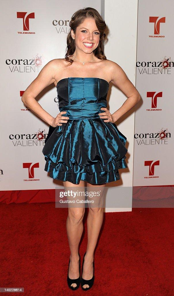 Ahrid Hannaley attends Telemundo's Corazon Valiente Red Carpet Premiere at Fontainebleau Miami Beach on February 29, 2012 in Miami Beach, Florida.