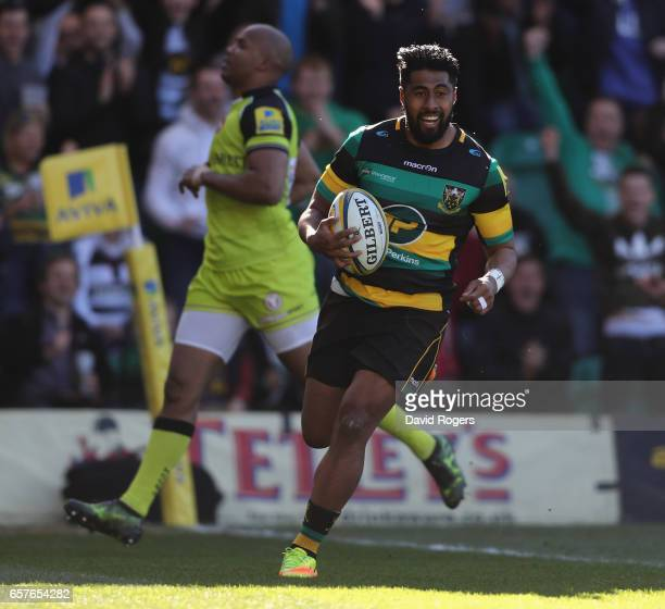 Ahsee Tuala of Northampton breaks clear to score their second try during the Aviva Premiership match between Northampton Saints and Leicester Tigers...