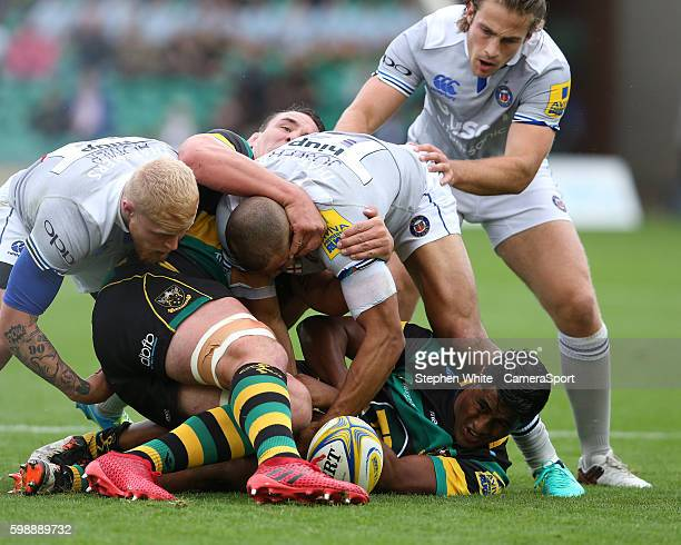 Ahsee Tuala of Northampton Saints releases the ball from a ruck during the Aviva Premiership match between Northampton Saints and Bath at Franklin's...