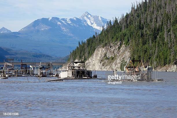 Ahtna Native's Fishwheel fish trap on Alaska's Copper River