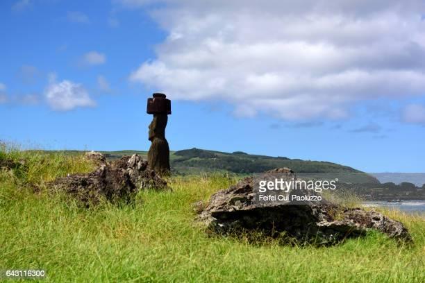 Ahu Ko Te Riku of Ahu Tahai Moai site of Hanga Roa in Easter Island of Chile