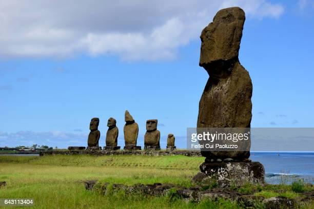 Ahu Tahai Moai site of Hanga Roa in Easter Island of Chile