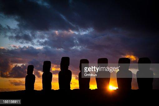 Ahu Tongariki Moais at Sunrise on Easter Island, Chile