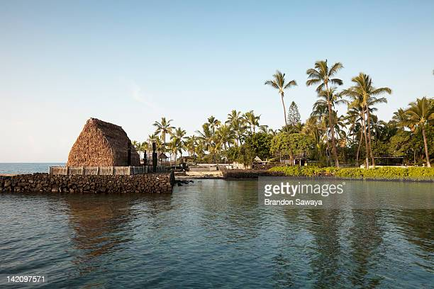 Ahu'ena Heiau in downtown Kona is seen from the harbor.