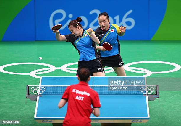 Ai Fukuhara and Mima Ito of Japan play against Austria during the Table Tennis Women's Team Round Quarter Final between Japan and Austria during Day...