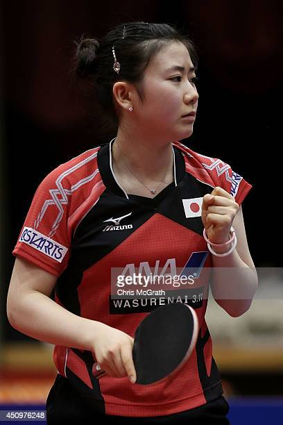 Ai Fukuhara of Japan celebrates a point against Li Fen of Sweden during their Women's Singles Quarter final match on day two of 2014 ITTF World Tour...