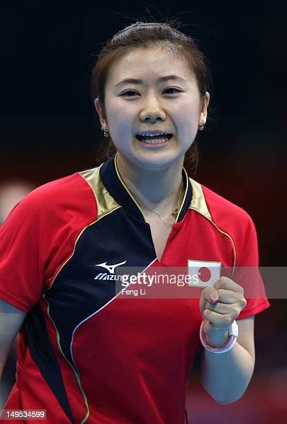 Ai Fukuhara of Japan celebrates during her Women's Singles Table Tennis fourth round match against Jie Li of Netherlands on Day 3 of the London 2012...