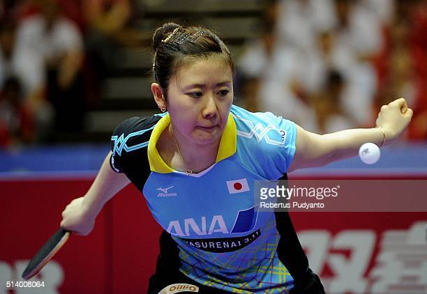 Ai Fukuhara of Japan competes against Liu Shiwen of China during the 2016 World Table Tennis Championship Women's Team Division final match at...