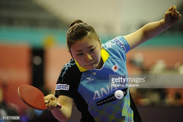 Ai Fukuhara of Japan competes against Suthasini Sawettabut of Thailand during the 2016 World Table Tennis Championship Women's Team Division Round 4...