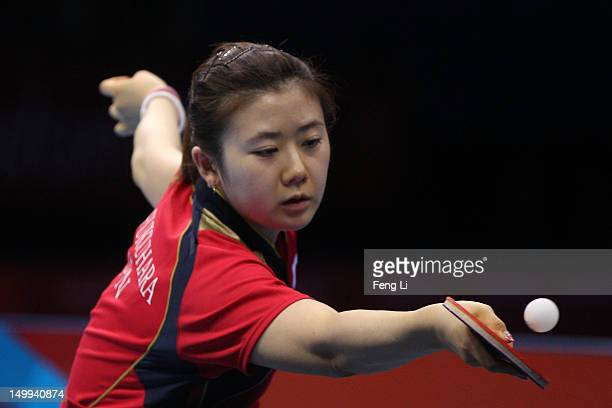 Ai Fukuhara of Japan competes against Xiaoxia Li of China during the Women's Team Table Tennis gold medal match on Day 11 of the London 2012 Olympic...
