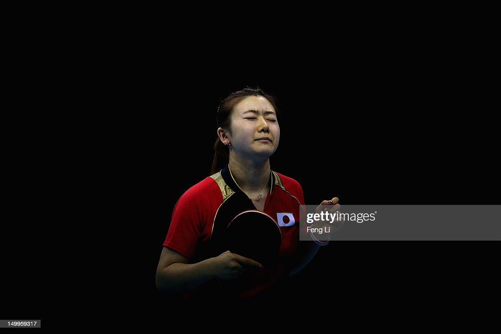 Ai Fukuhara of Japan competes against Xiaoxia Li of China during the Women's Team Table Tennis gold medal match on Day 11 of the London 2012 Olympic Games at ExCeL on August 7, 2012 in London, England.