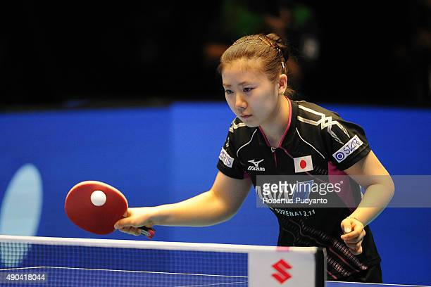 Ai Fukuhara of Japan competes against Zhu Yu Ling of China during Women's Team Champion Division final match of the 22nd 2015 ITTF Asian Table Tennis...