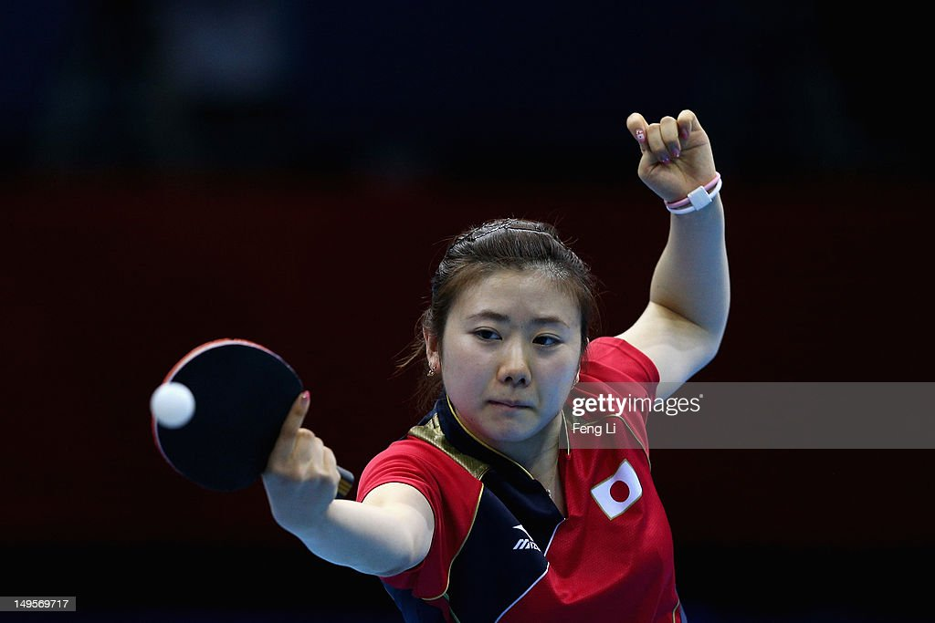 Ai Fukuhara of Japan competes during the Women's Singles Table Tennis quarter-final match against Ning Ding of China on Day 4 of the London 2012 Olympic Games at ExCeL on July 31, 2012 in London, England.