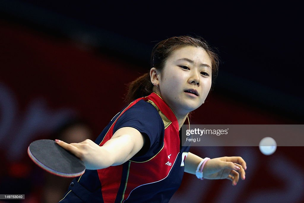 Ai Fukuhara of Japan competes during Women's Team Table Tennis first round match against team of United States on Day 7 of the London 2012 Olympic Games at ExCeL on August 3, 2012 in London, England.
