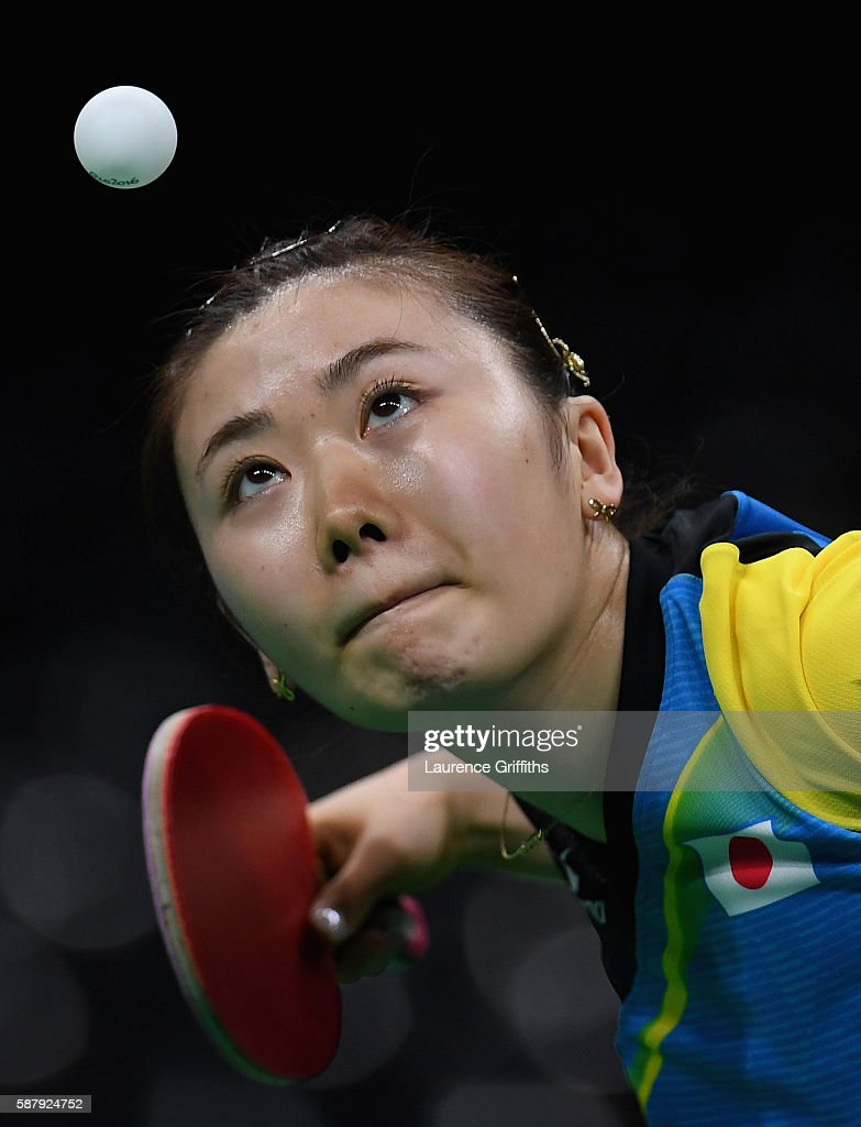 Ai Fukuhara of Japan in action during her Womens Table Tennis Singles Semi Final match against Xiaoxia Li of China at Rio Centro on August 10, 2016 in Rio de Janeiro, Brazil.