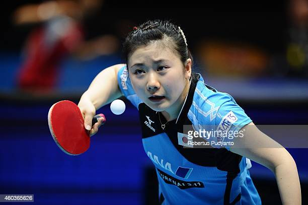 Ai Fukuhara of Japan in action during the Women's singles round of 16 of the 2014 ITTF World Tour Grand Finals at Huamark Indoor Stadium on December...