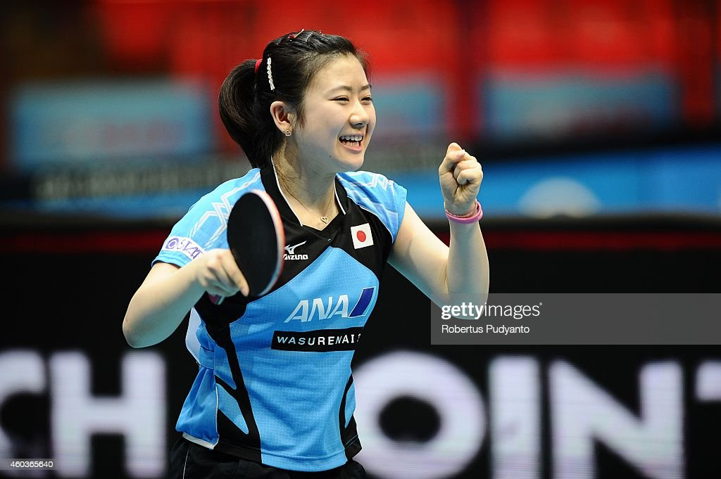 Ai Fukuhara of Japan reacts after defeating Morizono Mizaki of Japan during the Women's singles round of 16 of the 2014 ITTF World Tour Grand Finals at Huamark Indoor Stadium on December 12, 2014 in Bangkok, Thailand.