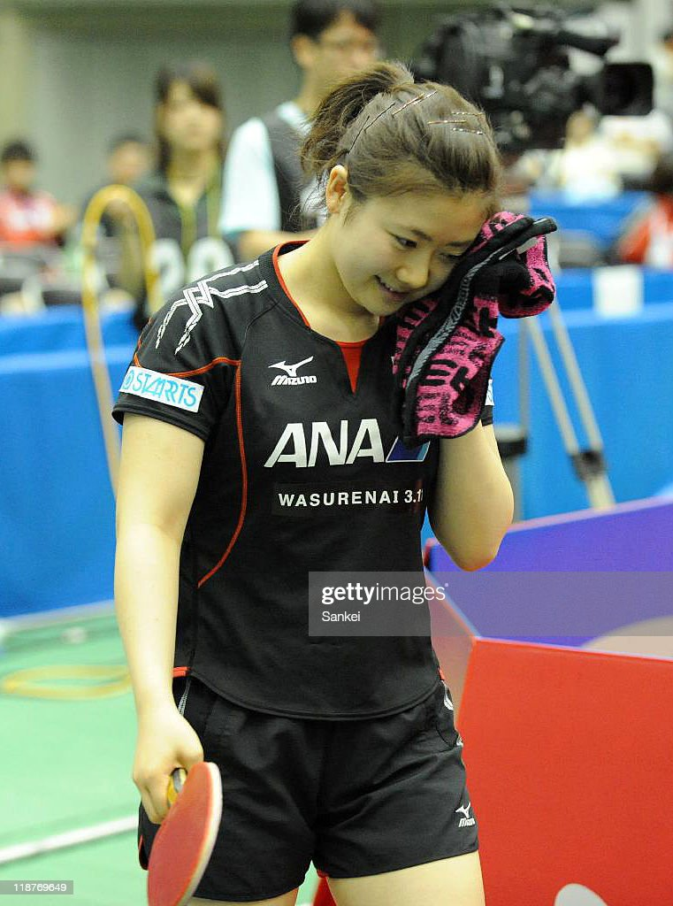 Ai Fukuhara of Japan reacts after losing to Feng Tainwei of Singapore in the Women's singles Final during the day four of the Table Tennis Japan Open 2011 Kobe at Green Arena Kobe on July 10, 2011 in Kobe, Hyogo, Japan.