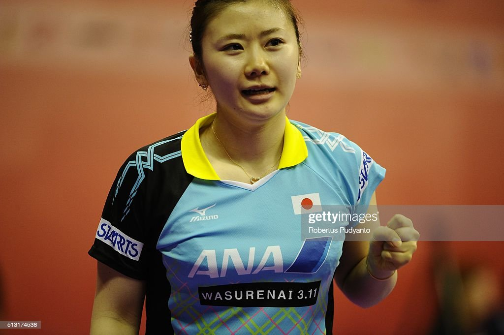 Ai Fukuhara of Japan reacts against Suthasini Sawettabut of Thailand during the 2016 World Table Tennis Championship Women's Team Division Round 4 match at Malawati Stadium on March 1, 2016 in Shah Alam, Malaysia.