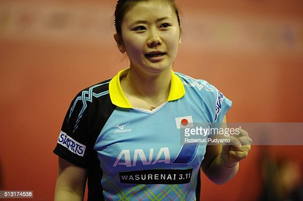 Ai Fukuhara of Japan reacts against Suthasini Sawettabut of Thailand during the 2016 World Table Tennis Championship Women's Team Division Round 4...