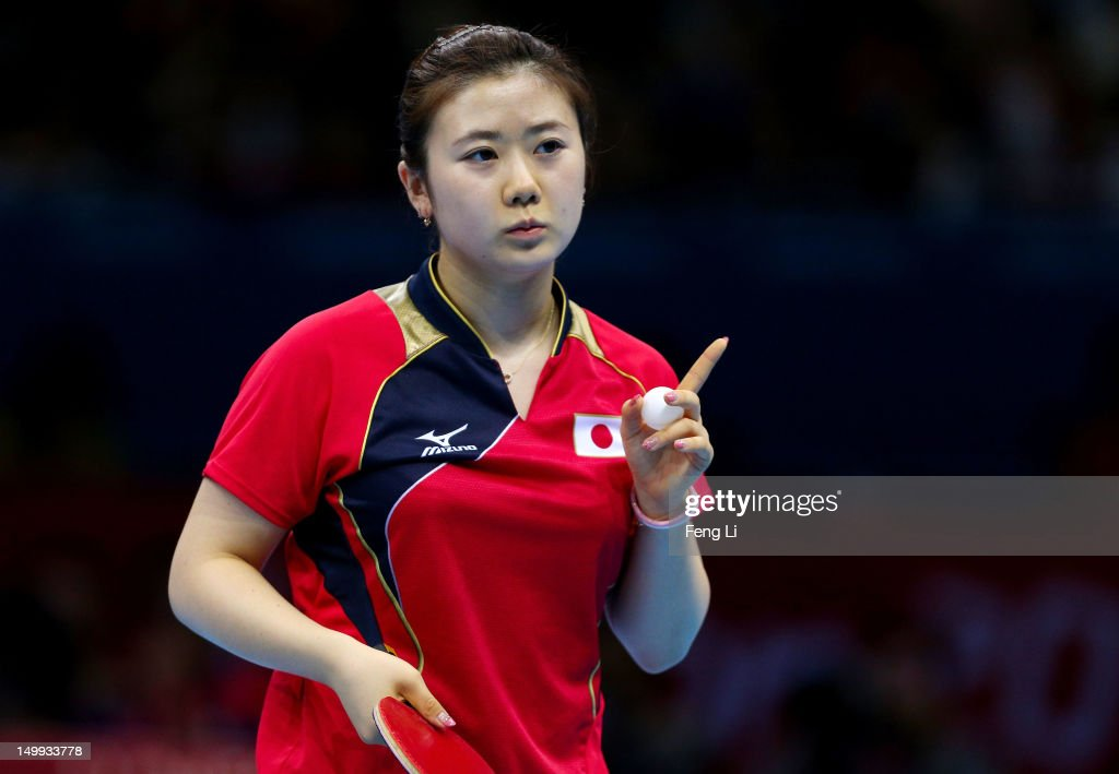 Ai Fukuhara of Japan reacts while competing against Xiaoxia Li of China during the Women's Team Table Tennis gold medal match on Day 11 of the London 2012 Olympic Games at ExCeL on August 7, 2012 in London, England.