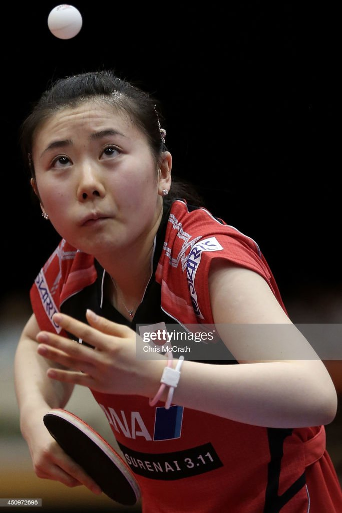 Ai Fukuhara of Japan serves against Li Fen of Sweden during their Women's Singles Quarter final match on day two of 2014 ITTF World Tour Japan Open at Yokohama Cultural Gymnasium on June 21, 2014 in Yokohama, Japan.