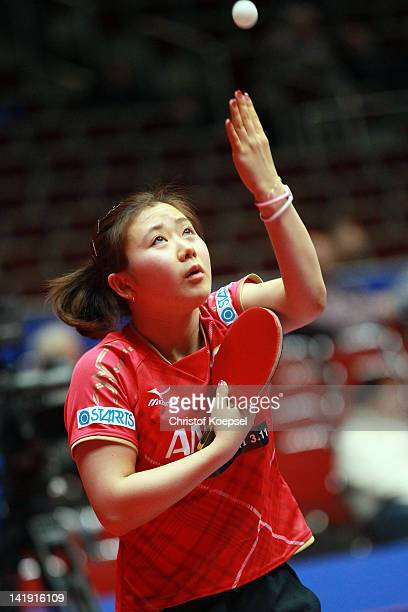 Ai Fukuhara of Japan serves during her match against Magdalene Szczerkoweska of Poland during the LIEBHERR table tennis team world cup 2012...