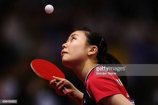 Ai Fukuhara of Japan serves in her Round of 32 Elimination Match against Shrestha Nabita of Nepal during day thirteen of the 2014 Asian Games at...