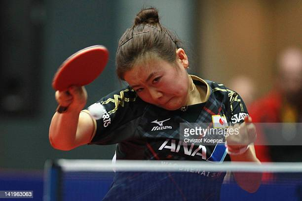 Ai Fukuharar of Japanplays a forehand during her match against Wu Jiaduo of Germany during the LIEBHERR table tennis team world cup 2012 championship...